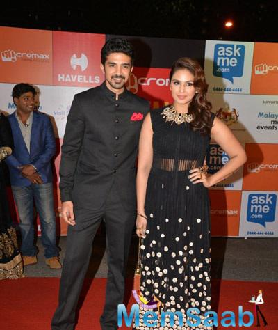 Saqib With Sis Huma At South Indian International Movie Awards 2014 Shutterbug