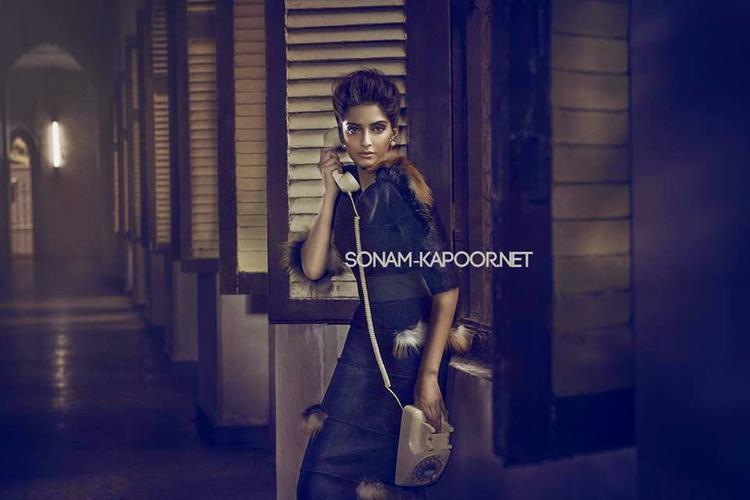 Sonam Kapoor Smoke Eyes Look Hot Pose From Vogue Magazine Sept 2014 Issue