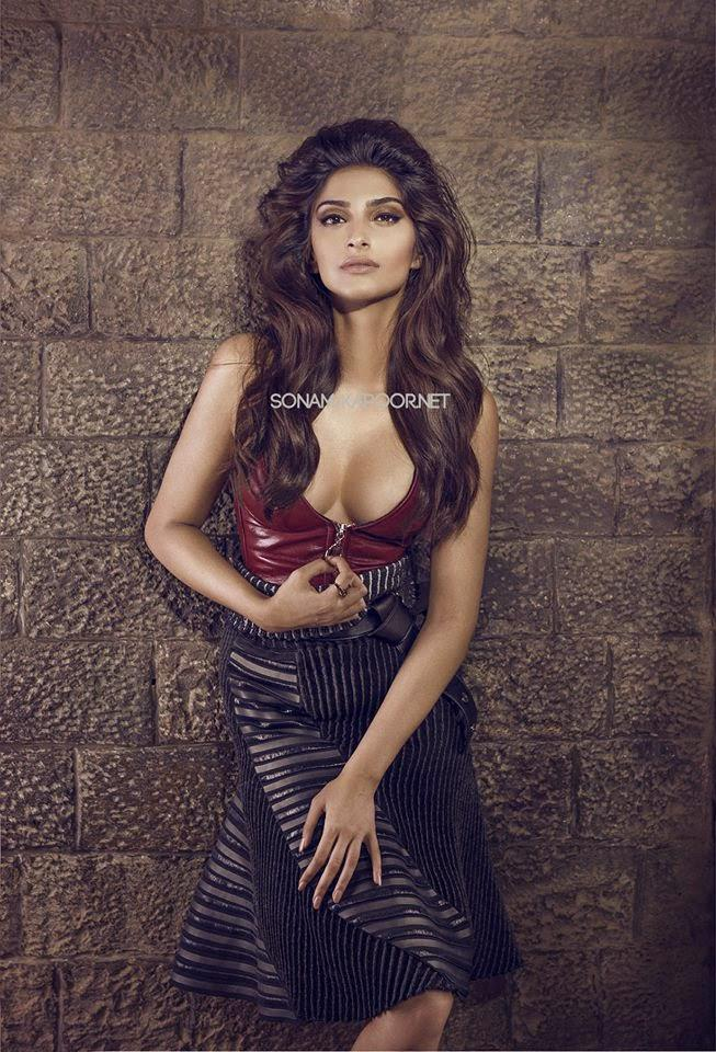 Sonam Looks Hot Flaunting Her Cleavage In A Revealing Outfit For Vogue September 2014 Issue