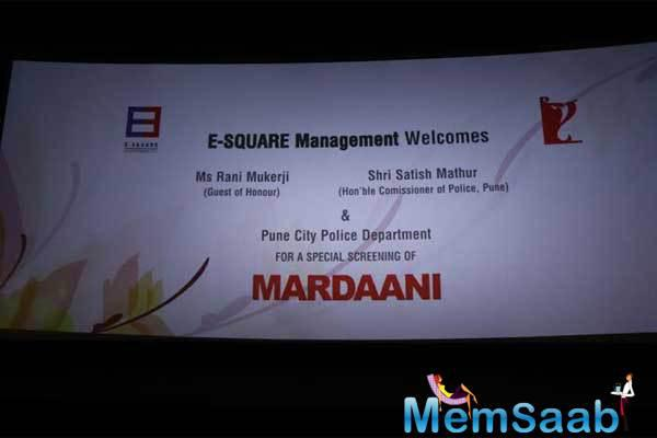 Invitation Of Mardaani Special Screening For Pune Police Department