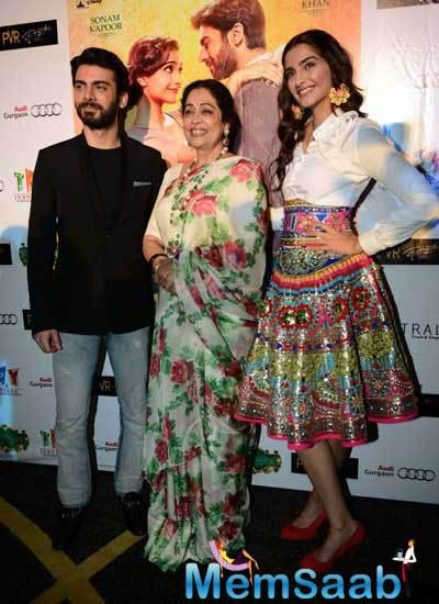 Fawad Khan,Kirron Kher And Sonam Kapoor Clicked During The Promotion Of  Khoobsurat At Delhi