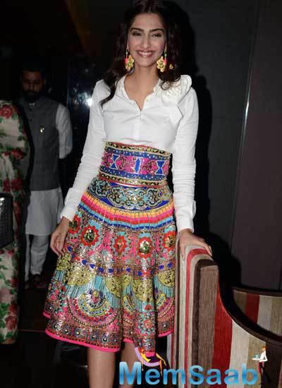 Sonam Kapoor Lovely Look In Manish Arora Dress At Khoobsurat Promotions