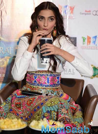 Sonam Kapoor Take Coffee During The Promotion Of  Khoobsurat At Delhi