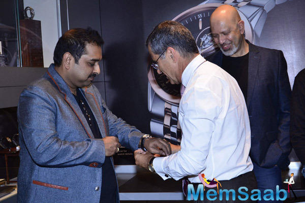 Shankar Mahadevan Wearing The Watch And Loy Mendonsa Looks On At Raymond Weil Boutique Store Launch