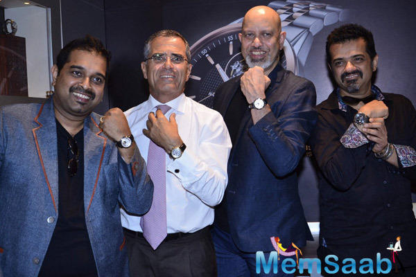 Shankar,Loy And Ehsaan Posed With Raymond Watch During The Launch Of Raymond Weil Boutique Store