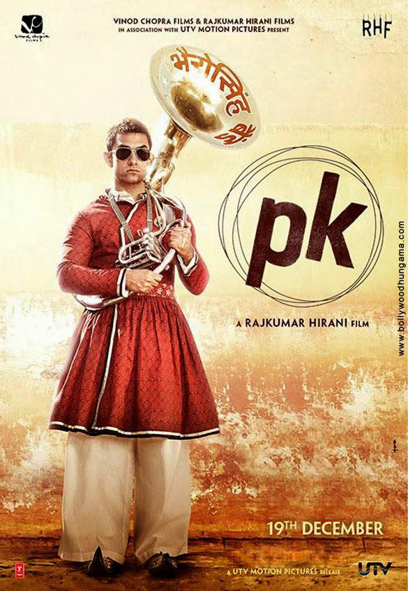Aamir Khan In A Gujarati Style Bandwala Dress In PK Movie Poster