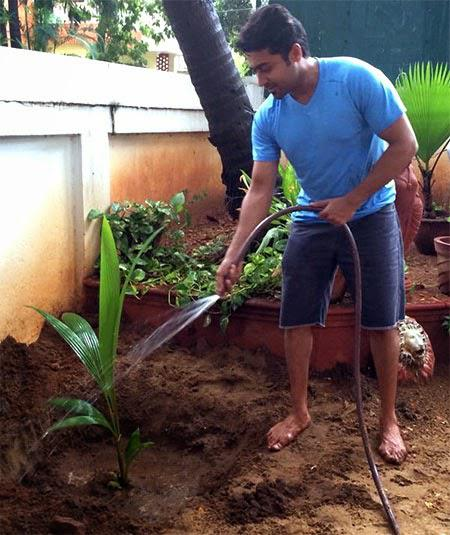 Suriya Gave Water To The Tree After Plantation At My Tree Challenge Event
