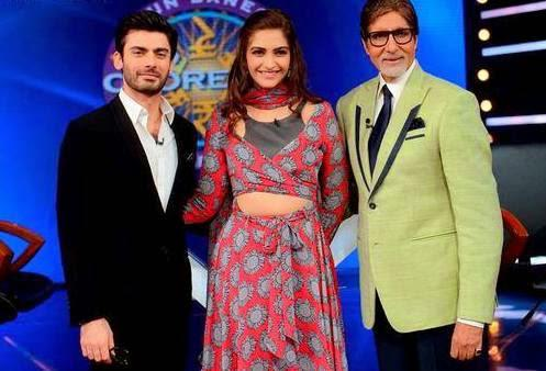 Fawad,Sonam And Amitabh Posed At Khoobsurat Movie Promotion On The Sets Of KBC