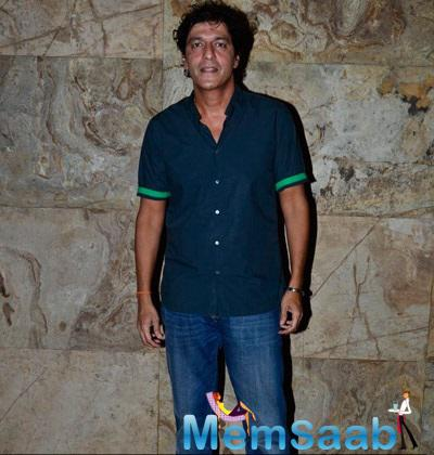 Chunky Pandey Pose For The Media At The Special Screening Of Khoobsurat