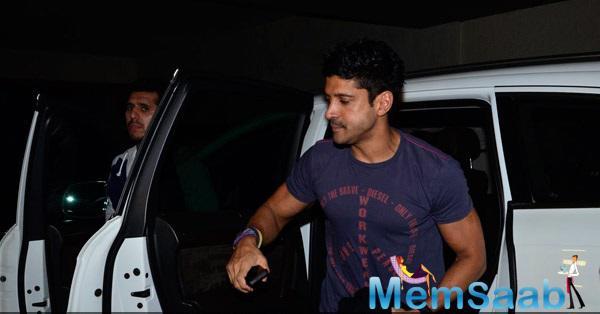 Farhan Akhtar Arrives At Khoobsurat Special Screening Host By Anil Kapoor