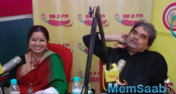 Rekha Bhardwaj With Hubby Vishal Bhardwaj Snapped At Radio Mirchi Studio