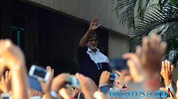 Amitabh Bachchan Waves His Hands To His Fans Outside His Residence On Sunday