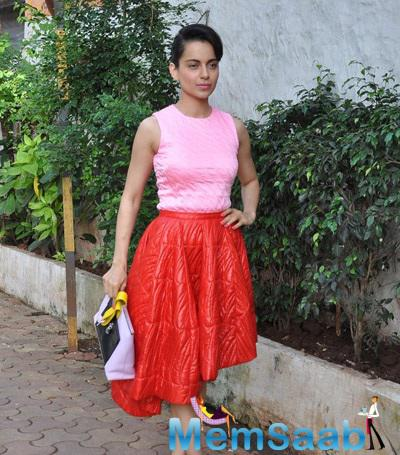 Kangana Looks Stunning In A Pale Pink Quilted Top With A Burnt Orange Asymmetrical Hem Quilted Skirt