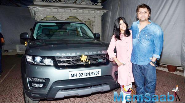 Ekta Kapoor And Mohit Suri Posing With Range Rover