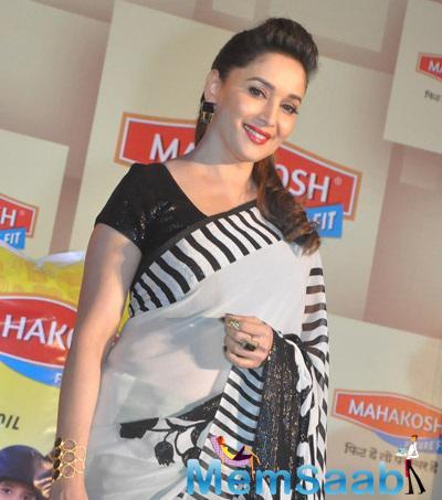 Stunning Madhuri Dixit Was Clicked At The Mahakoshpress Meet Held In New Delhi