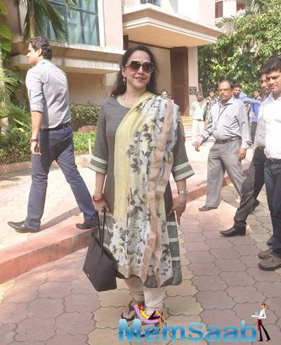 Hema Malini Snapped At Launch Of Atharva Institute Of Film And Television