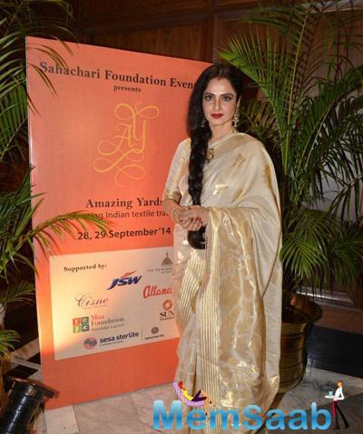 Rekha Posing For Shutterbugg At Inauguration Of Sahachari Foundation