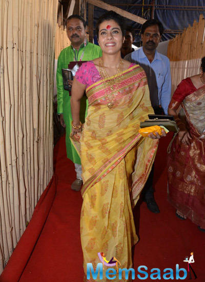 Kajol Devgan Attended The North Bombay Sarbojanin Durga Puja