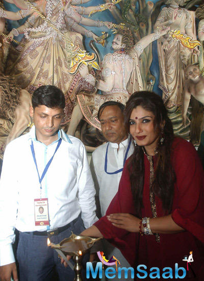 Raveena Tandon Lights The Candle During Durga Puja Pandal Inauguration In Kolkata