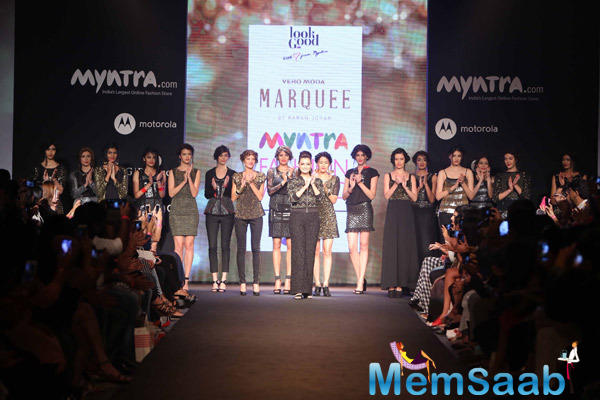 Dia Mirza Graced On Ramp With Models On Day 1 At Myntra Fashion Weekend 2014