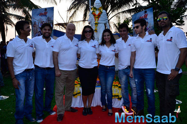 Anupam Kher,Neha Dhupia And Others Are Posed During The Promotion Of Ekees Topn Ki Salami