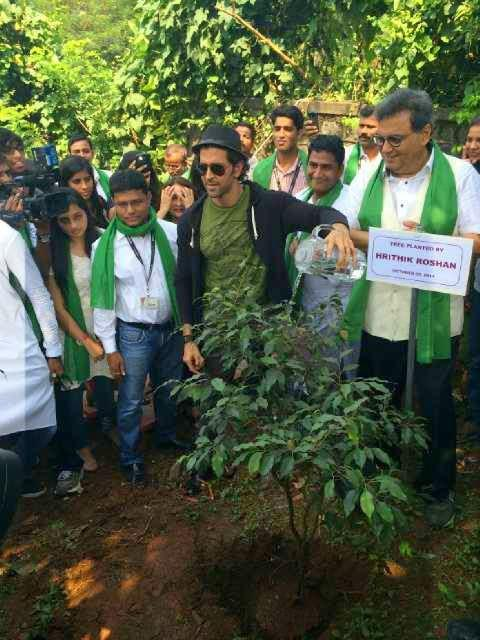 Hrithik Roshan And Subhash Ghai Planted Tree At Whistling Woods For Support The Clean India Initiative
