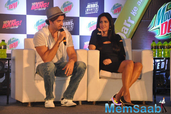 Hrithik Roshan Interacts With Media And Katrina Kaif Looks On During The Launch Of  Mountain Dew Campaign Heroes Wanted