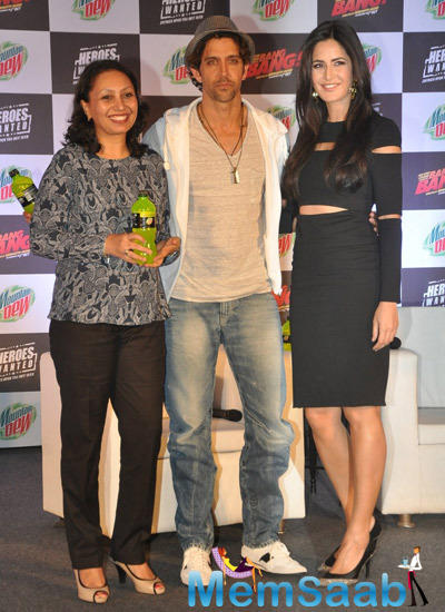 Hrithik Roshan Posed With Katrina Kaif At The Launch Of Bang Bang And Mountain Dew Heroes Wanted Campaign
