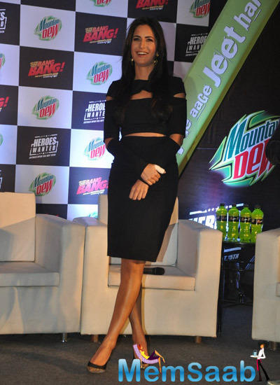 Katrina Kaif Hot Look In Black Attire At The Launch Of Mountain Dew Heroes Wanted Campaign