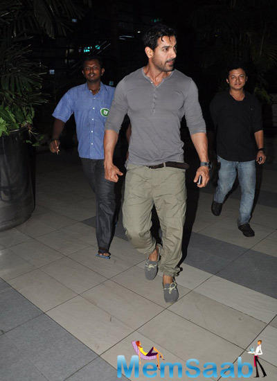 John Abraham Spotted At Mumbai International Airport