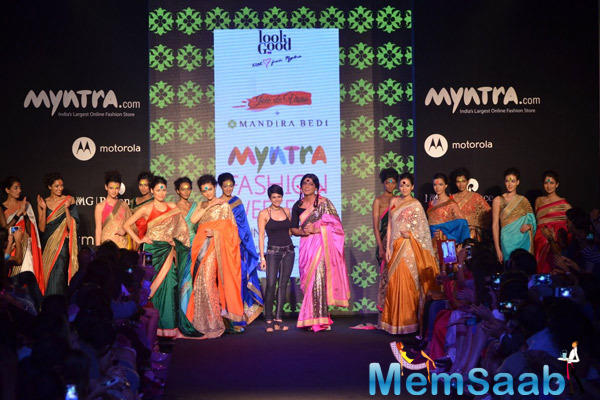 Mandira Bedi And Sunil Grover On Ramp With Models At Myntra Fashion Weekend 2014 Finale
