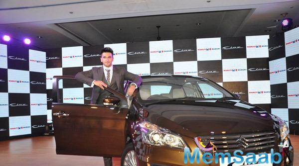 Ranveer Singh Posed During The Launch Of New Maruthi Suzuki Ciaz