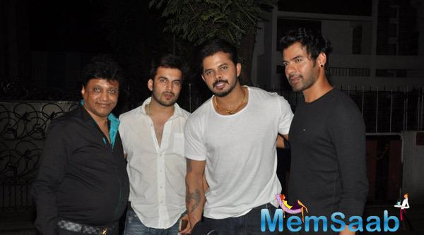 S. Sreesanth,Shabbir Ahluwalia And Friends At Outside Of The Ekta Kapoor House