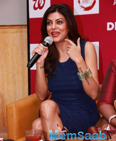 Sushmita Sen Interacts With Media During Beauty At Your Fingertips Book Launch By Nirmala Shetty