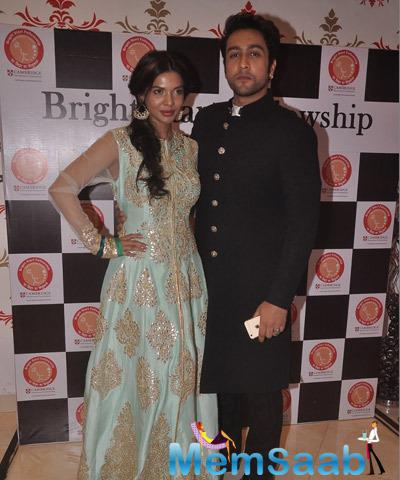 Sara Loren And Adhyayan Suman Posed At The Annual Garba Celebration Of Bright Start Fellowship International School