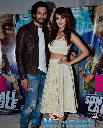 Ali Fazal And Rhea Chakraborty Posed At The Press Meet Of Sonali Cable Movie