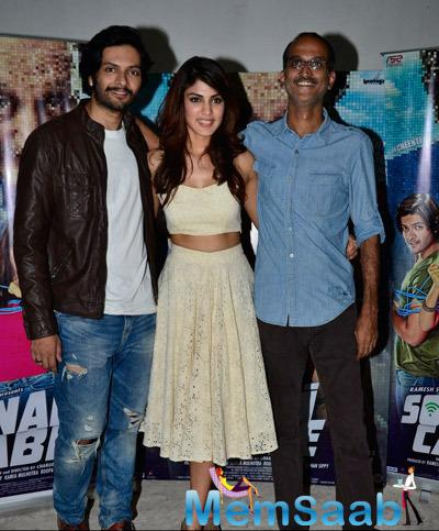 Ali Fazal,Rhea Chakraborty And Rohan Sippy Clicked During The Press Meet Of Film Sonali Cable