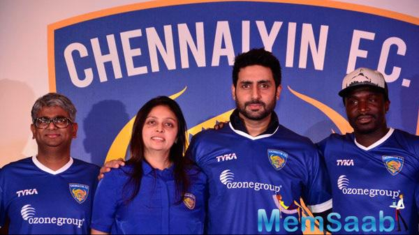 Abhishek Bachchan At His ISL Team Chennaiyin FC Press Meet