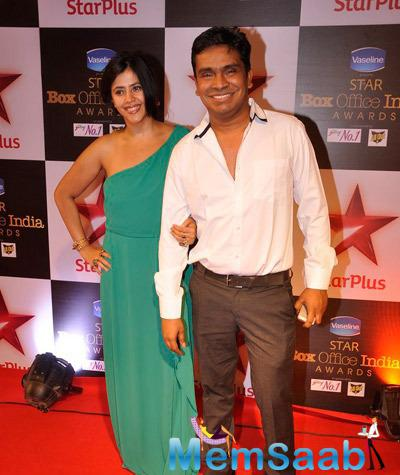 Ekta Kapoor Smiling Pose On Red Carpet At Star Plus Box Office Awards 2014