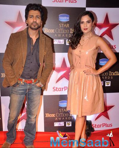 Tamanchey Star Nikhil Dwivedi And Richa Chadda Posed At Star Plus Box Office Awards 2014