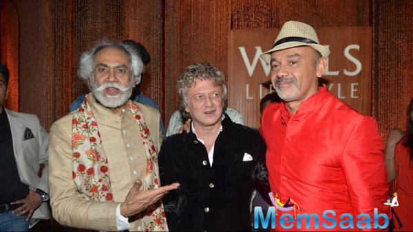 Christian Louboutin With Rohit Bal At The Day 5 Of Wills Fashion Week For Rohit Bal Show