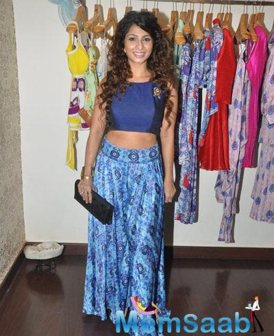 Tanishaa Sported A Blue Crop Top With An Evil Eye Print Pant From Nisha's New Collection