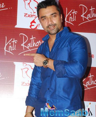 Ajaz Khan Strikes A Pose During Kirti Rathore Designer Menswear Studio Launch