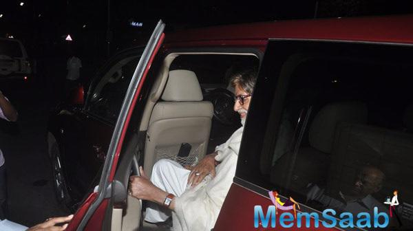 Amitabh Bachchan Returning To Home In His Car From Mumbai Airport
