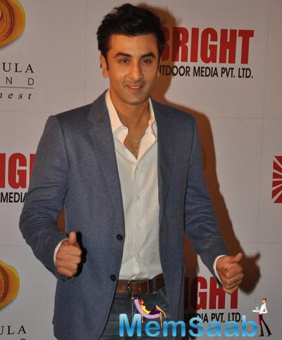 Ranbir Kapoor Gestures As He Poses For The Media At 34th Anniversary Party Of Bright Outdoor Advertising