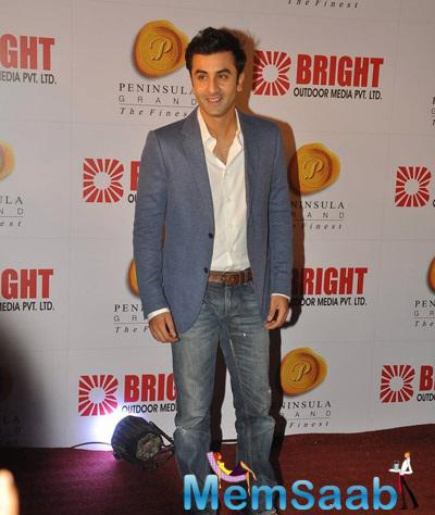 Ranbir Kapoor Strikes A Cool Pose For Bright Advertising Party