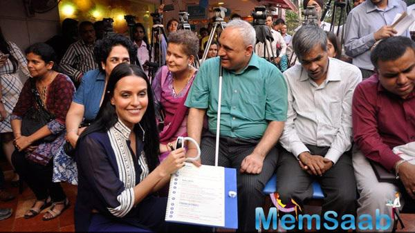 Neha Dhupia During The Launch Of India's First Braille And Audio Menu For The Blind