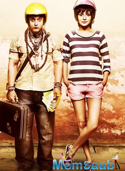 Anushka And Aamir Latest Cute And Fun Still From P.K. Poster