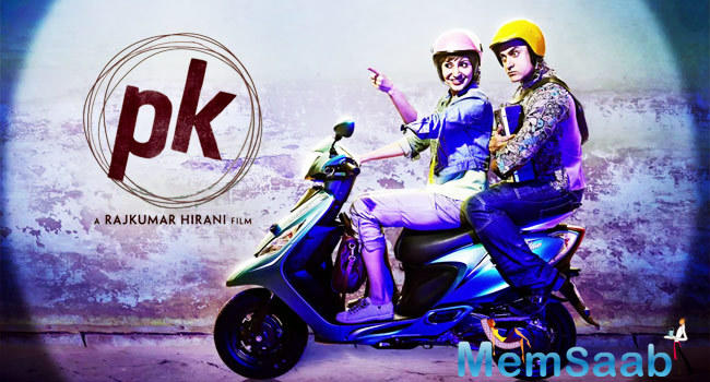 Anushka And Aamir Latest Still From PK Poster On Scooter