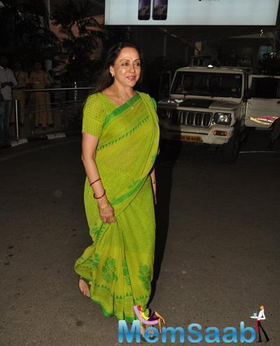 Hema Malini Clicked At Mumbai International Airport